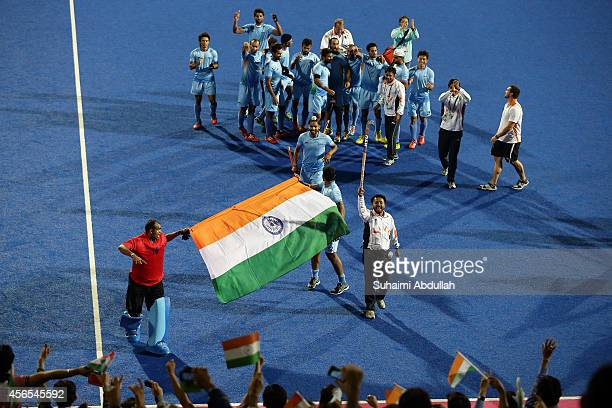 India players celebrate after defeating Pakistan during the men's gold medal match on day thirteen of the 2014 Asian Games between India and Pakistan...