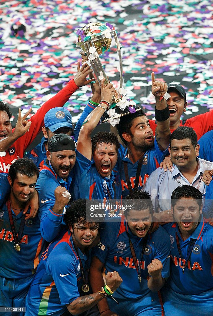 India players celebrate after India defeated Sri Lanka in the 2011 ICC World Cup Final between India and Sri Lanka played at Wankhede Stadium on April 2, 2011 in Mumbai, India.