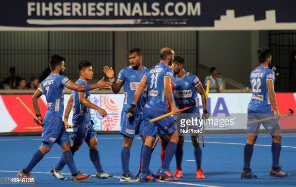 India players celebrate after score a goal during the hockey World Series Finals 2019 league round match between India and Uzbekistan at the Kalinga...