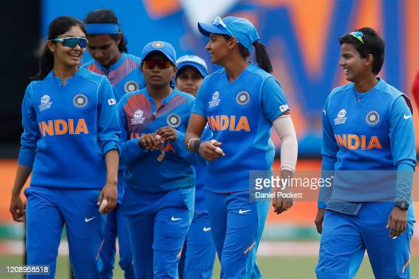 India players celebrate after winning the ICC Women's T20 Cricket World Cup match between India and New Zealand at Junction Oval on February 27, 2020...