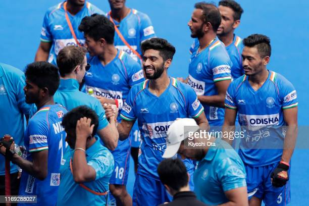 India players celebrate after winning the Men's Final match against New Zealand on day four of the Hockey Tokyo 2020 Test Event at Oi Hockey Stadium...