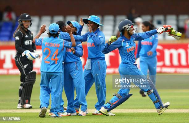 India players celebrate making it into the semi final during the ICC Women's World Cup match between India and New Zealand at The 3aaa County Ground...