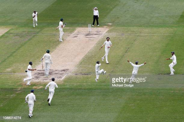 India players celebrate the win after Ishant Sharma of India dismisses Nathan Lyon of Australia during day five of the Third Test match in the series...