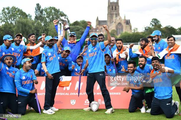 India players celebrates after they beat England during the Physical Disability World Series 2019 Final mach between England and India at New Road on...