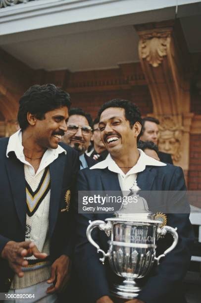 India players Kapil Dev and Man of the Match Mohinder Armanath pictured after the 1983 Prudential World Cup Final victory against West Indies at...