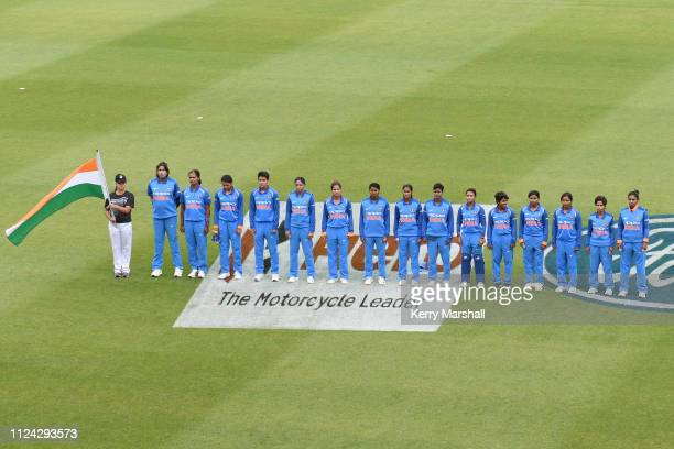 India players line up for national anthems before game one of the One Day International Series between New Zealand White Ferns and India at McLean...