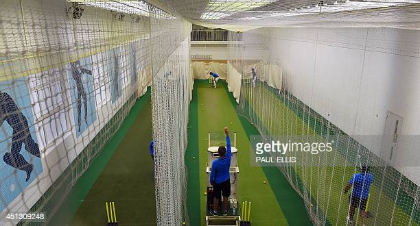India players take part in an indoor nets session during a rain affected second day of the cricket Tour Match between Leicestershire and India at...