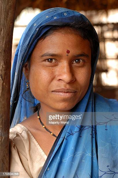 Portrait of a lady in blue saree in a village near Nagpur Maharashtra January 30 2007