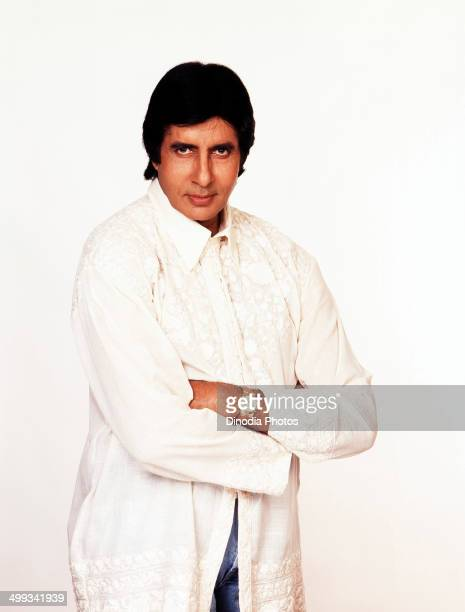 1988 India Portrait of Amitabh Bachchan standing arms crossed