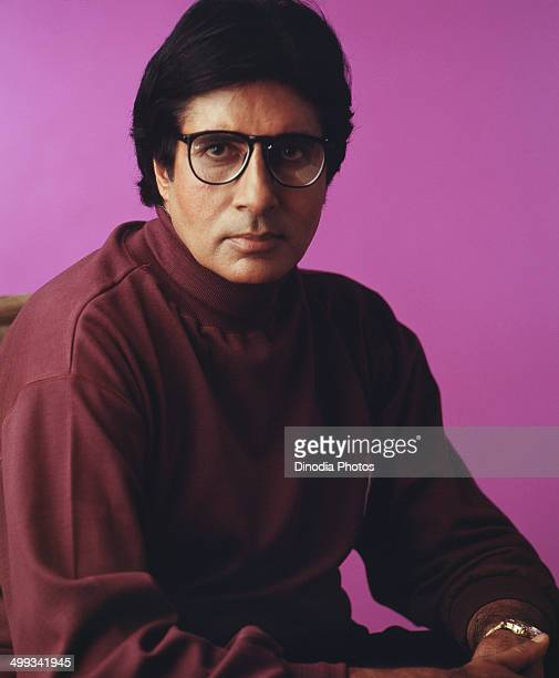 1988 India Portrait of Amitabh Bachchan wearing spectacles