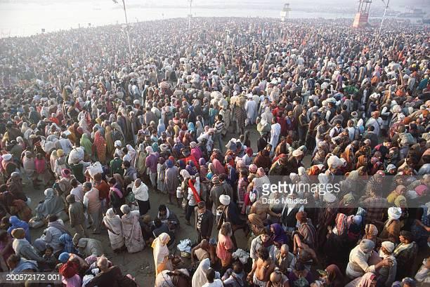 india, prayag, kumbh mela festival, mass of pilgrims, elevated view - prayagraj stock pictures, royalty-free photos & images