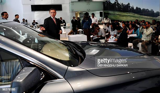 BMW India President Peter Kronschnabl gives a press conference in Bangalore on February 3 2010 The company announced its launch of the 100car limited...