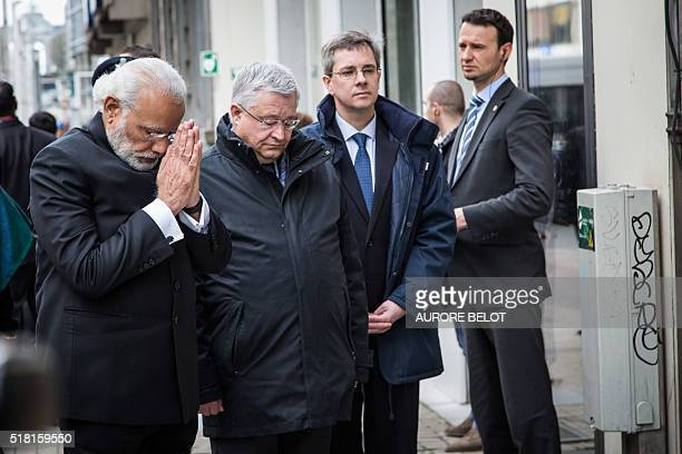 India Prime Minister Narendra Modi and Brussels Region Minister of Finance Budget and External relations Guy Vanhengel arrive at the Maalbeek...