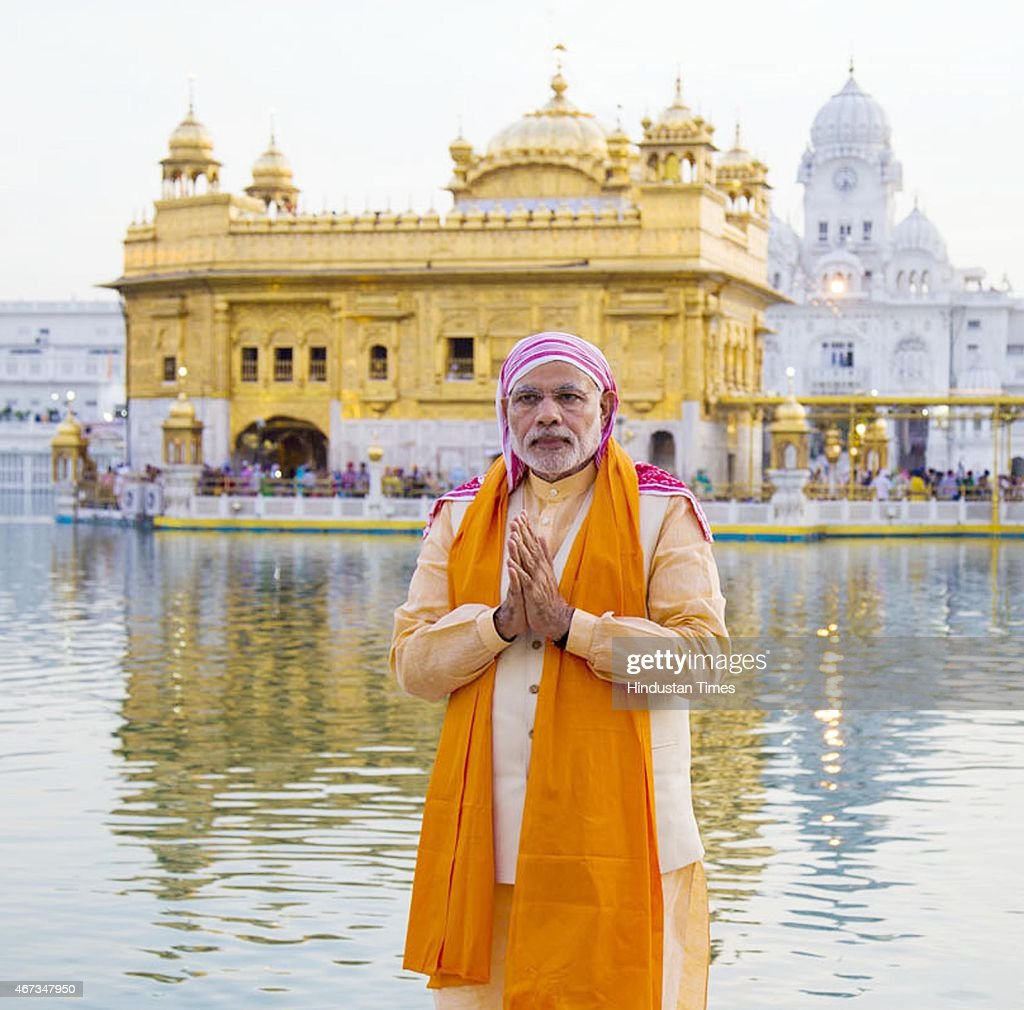 India Prime Minister Narendra Modi during his visit to pay obeisance at Golden Temple on March 23 2015 in Amritsar India Prime Minister Narendra Modi.