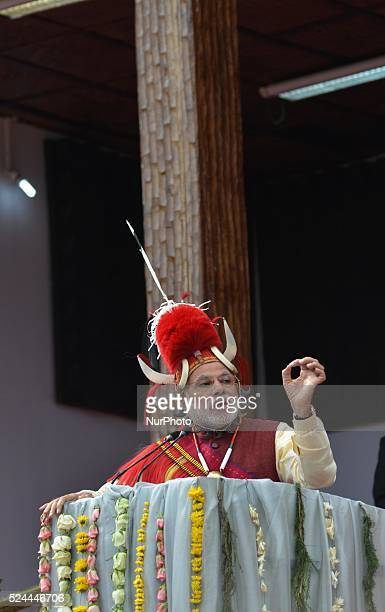 India Prime Minister Narendra Modi in Naga traditional attires address at the opening ceremony of the Hornbill Festival at Kisama some 15km away from...