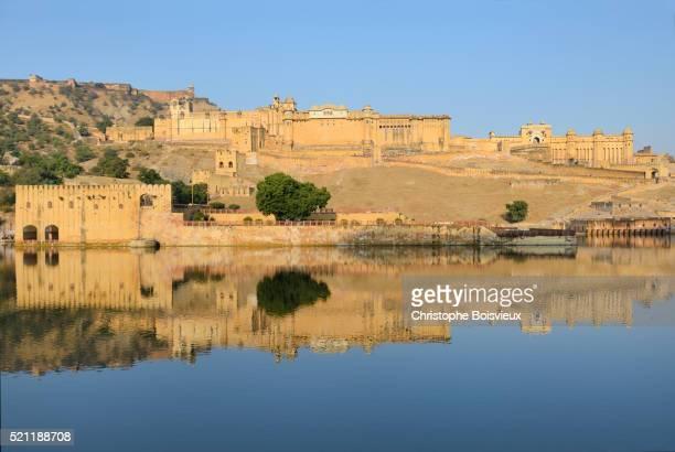 india, rajasthan, amber fort - amber fort stockfoto's en -beelden
