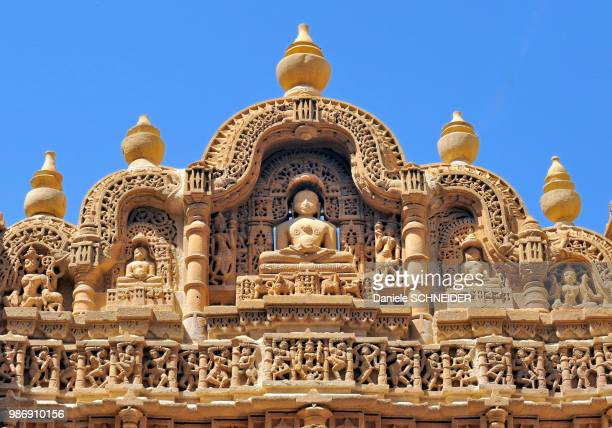 india, rajasthan, bas-relief on the frontage of a jain temple in jaisalmer - jain temple stock photos and pictures