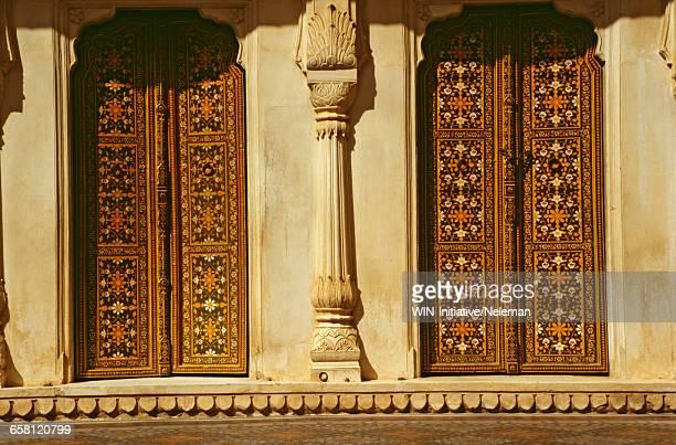 India, Rajasthan, Bikaner, Junagarh fort, painted door