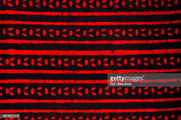 India Rajasthan Colorful red and black patterned textile block print on cloth fabric