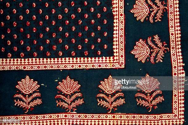 India Rajasthan Colorful red black blue and white patterned textile block print on cloth fabric