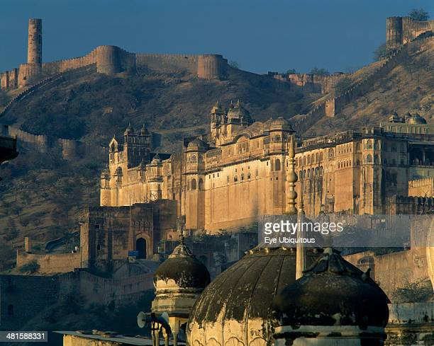 India Rajasthan Jaipur Amber Palace temple roof and fort on hill