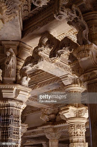 India, Rajasthan, Mount Abu, Dilwara Temple complex dating from 11th-13th century A.D. Detail of intricately carved and ornamented white marble...