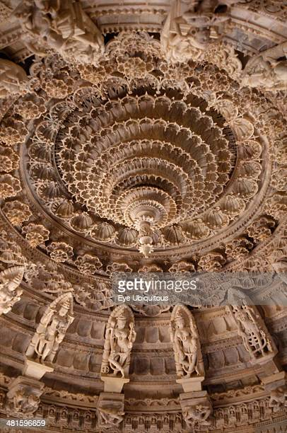 India Rajasthan Mount Abu Dilwara Temples Vimal Vasahi Jain temple 1031 AD Detail of carved white marble central ceiling with central pendant tapered...