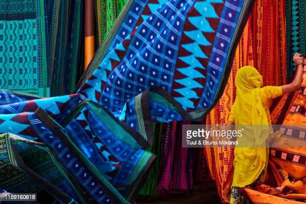 india, rajasthan, sari factory - sari stock pictures, royalty-free photos & images