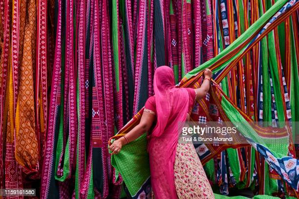 india, rajasthan, sari factory - india stock pictures, royalty-free photos & images