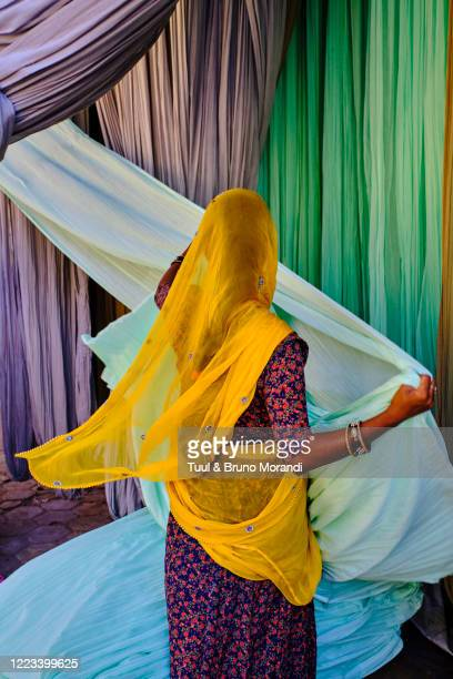 india, rajasthan, sari factory - south asia stock pictures, royalty-free photos & images