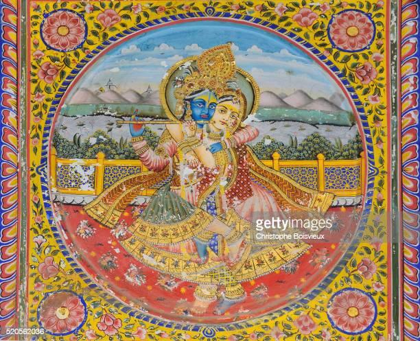India, Rajasthan, Shekhawati, Mandawa, Jhunjhunuwalla Haveli, Golden room, Krishna and Radha