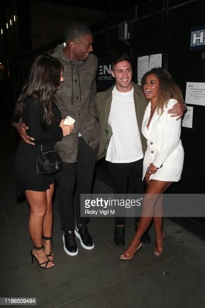 India Reynolds Ovie Soko Greg O'Shea and Amber Gill seen on a night out at The Ivy Soho Brasserie on August 06 2019 in London England