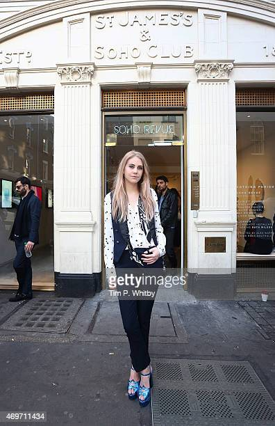 India Rose James attends the Soho Revue Launch Party at 14 Greek Street on April 14 2015 in London England