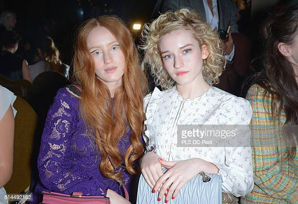 India Salvor Menuez and Julia Garner attend the Miu Miu show as part of the Paris Fashion Week Womenswear Fall / Winter 2016 on March 9 2016 in Paris...