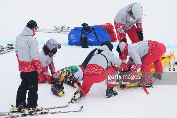 India Sherret of Canada is stretchered off after a crash during the Freestyle Skiing Ladies' Ski Cross 1/8 Finals on day fourteen of the PyeongChang...