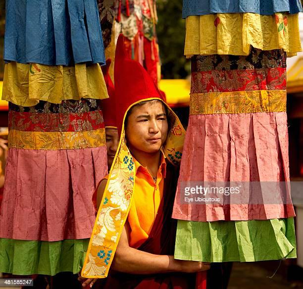 India Sikkim Buddhist monk in a Losar procession