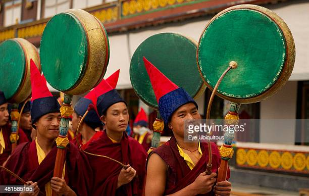 India Sikkim Buddhist Monks playing drums in a Losar ceremony