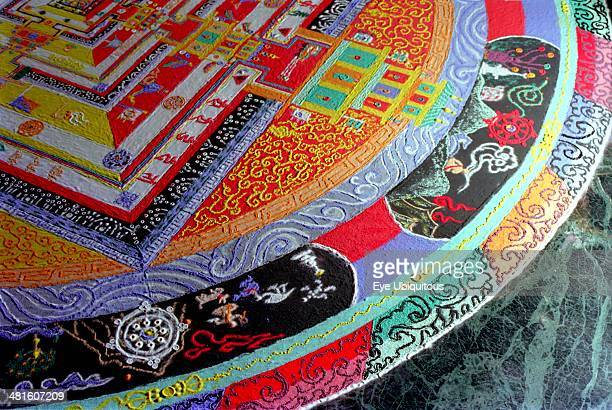 India Sikkim Rumtek Gompa decorative painting for Pujar ceremony and making a spiritual Mandala