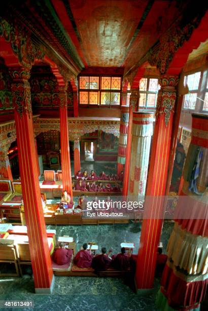 India Sikkim Rumtek Gompa View looking down on Pujar ceremony and the making of a spiritual Mandala