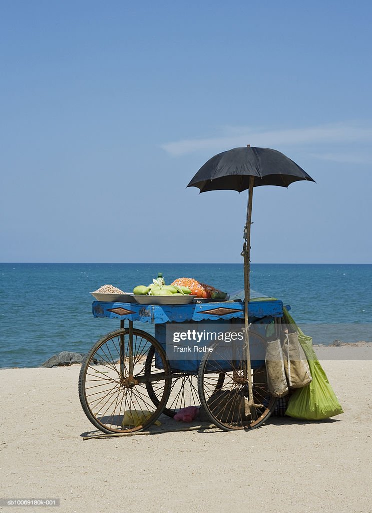 India, Snack stand on beach : Stockfoto