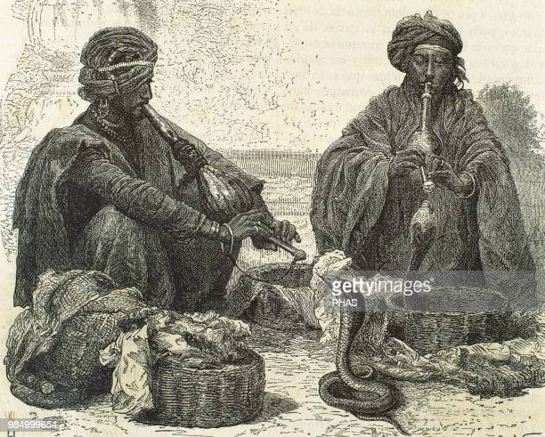 India Snake charming by playing a pungi Engraving 19th century