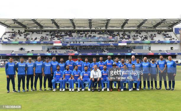 India squad pictured before the Group Stage match of the ICC Cricket World Cup 2019 between Sri Lanka and India at Headingley on July 06 2019 in...