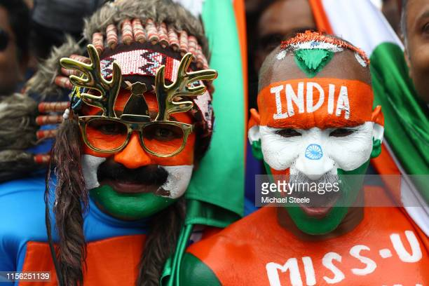 India supporters in full colour during the Group Stage match of the ICC Cricket World Cup 2019 between India and Pakistan at Old Trafford on June 16...