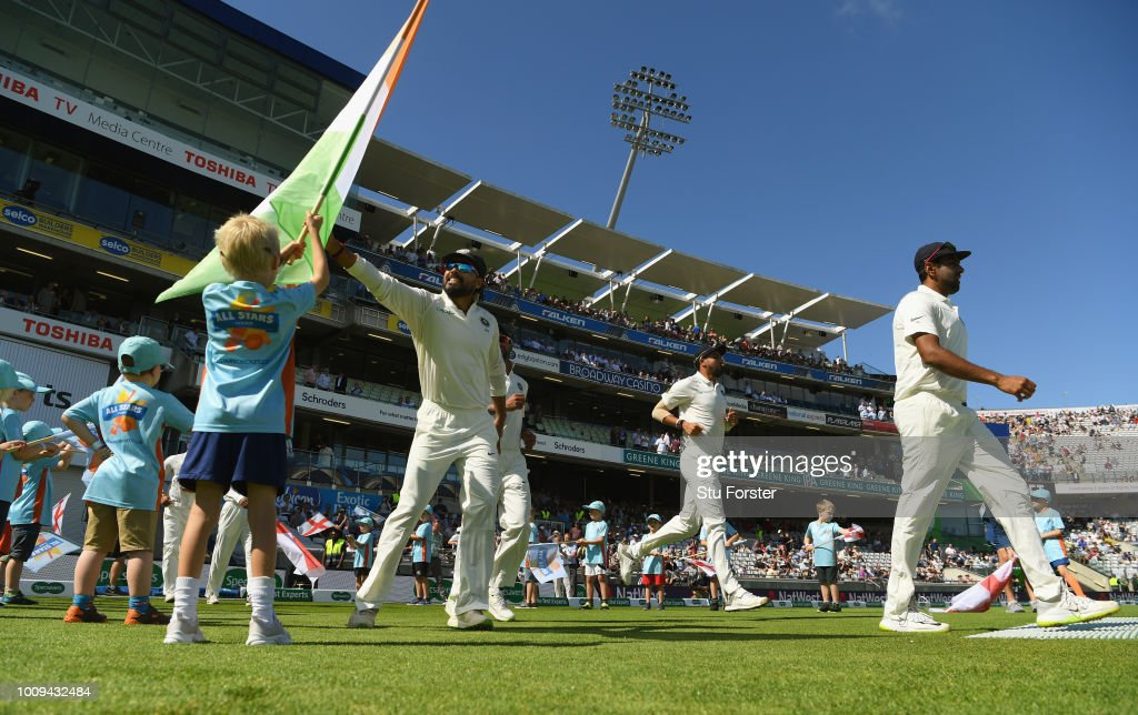 India take the field before day two of the First Specsavers Test Match between England and India at Edgbaston on August 2, 2018 in Birmingham, England.