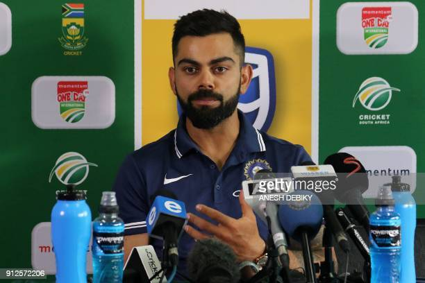 India team Captain Virat Kohli speaks during a press conference on the eve of the first One Day International against South Africa at the Sahara...