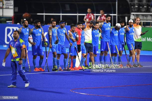 India team focus on shootout round during Men's Hockey Semifinal match between Malaysia and India at GBK Senayan on day twelve of the Asian Games on...