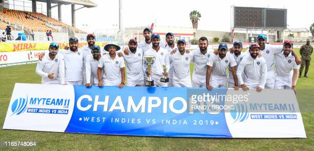 India team with trophy after winning on day 4 of the 2nd and final Test between West Indies and India at Sabina Park Kingston Jamaica on September 2...