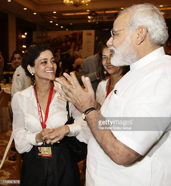 India Today Group Chief Creative Officer Kalli Purie and Rekha Purie with Gujarat CM Narendra Modi during the lunch on Day 1 of the India Today...