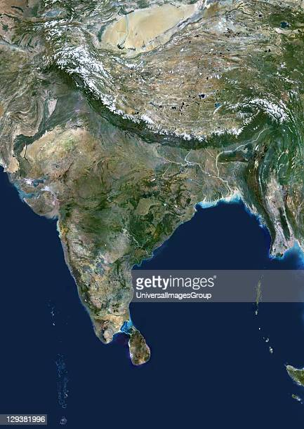 India true colour satellite image This image shows the Indian subcontinent bordered by Pakistan to the northwest and China and Nepal to the northeast...