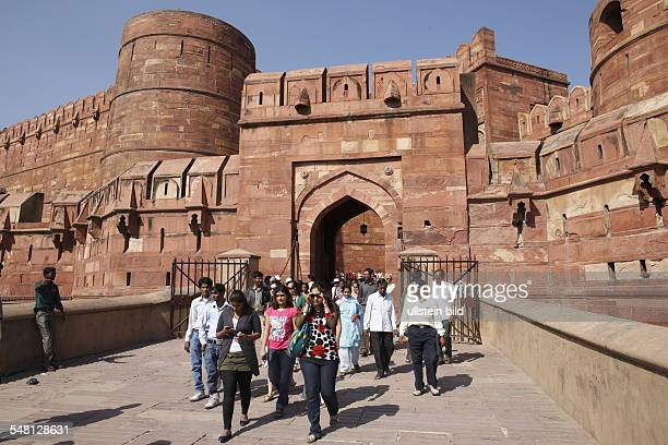 India Uttar Pradesh Agra - group of tourists in front of the Red Fort